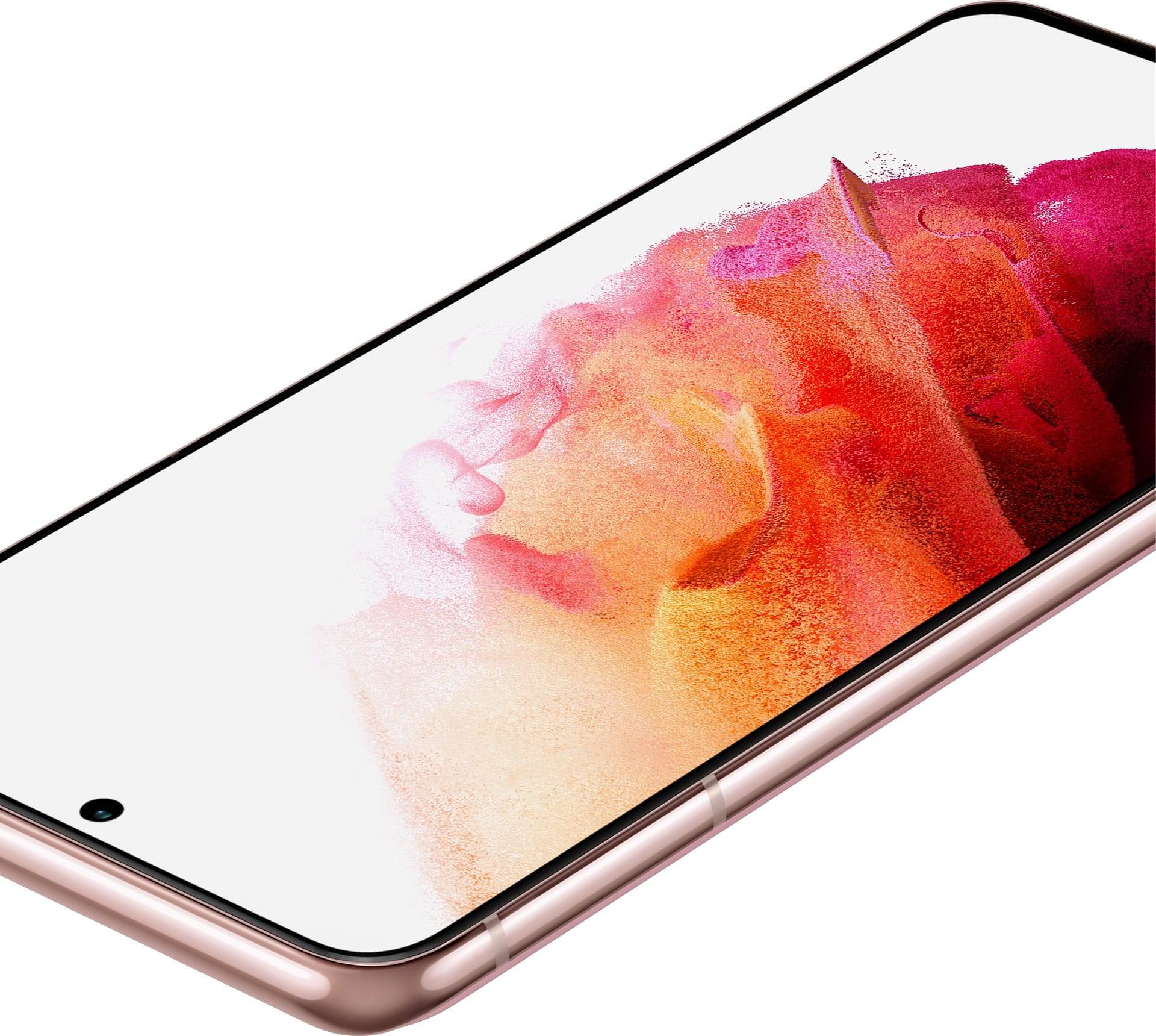 Primer plano del GalaxyS215G en Phantom Pink plano en ángulo con un fondo de pantalla con gráfico de coral que muestra los colores brillantes y vívidos de la pantalla.