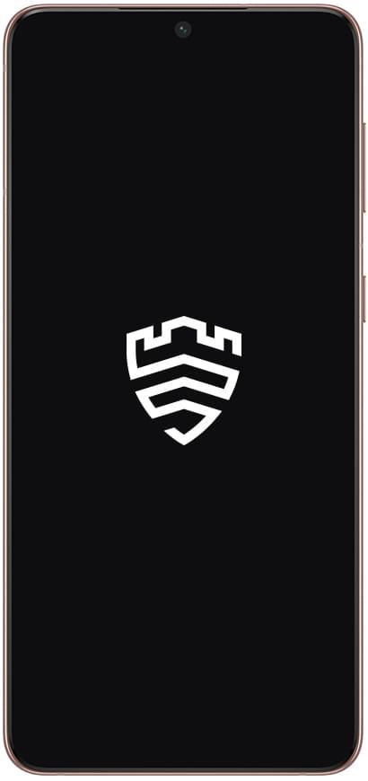 Galaxy S21+5G visto desde el frente con el logotipo blanco de Samsung Knox en la pantalla.