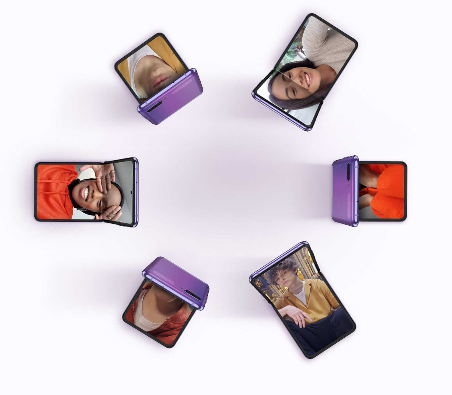 Aerial view of six Galaxy Z Flip phones in Mirror Purple, arranged in a circle seen folded at various angles with different selfies taken on Galaxy Z Flip onscreen