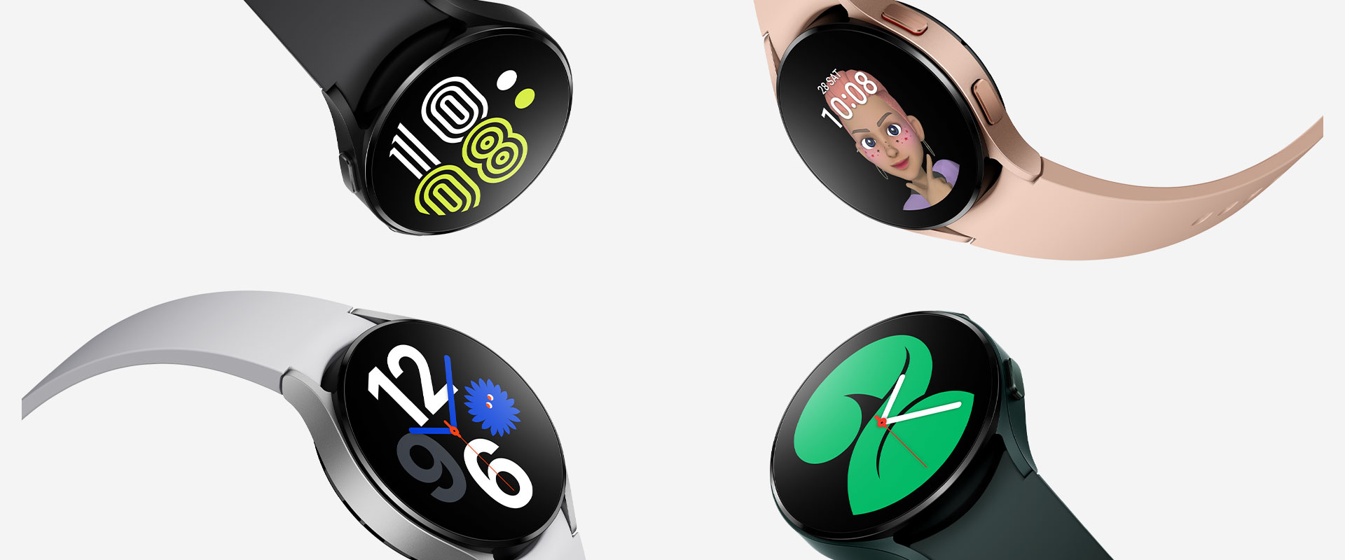 Four Galaxy Watch4 devices are grouped together, with each watch prominently showing different watch face styles to tell the time. Each watch is in a different color, from black, pink gold, green, to silver.