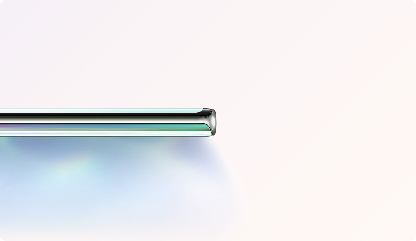 Close up of Galaxy Note10 plus seen from the no-button side to show the thin design