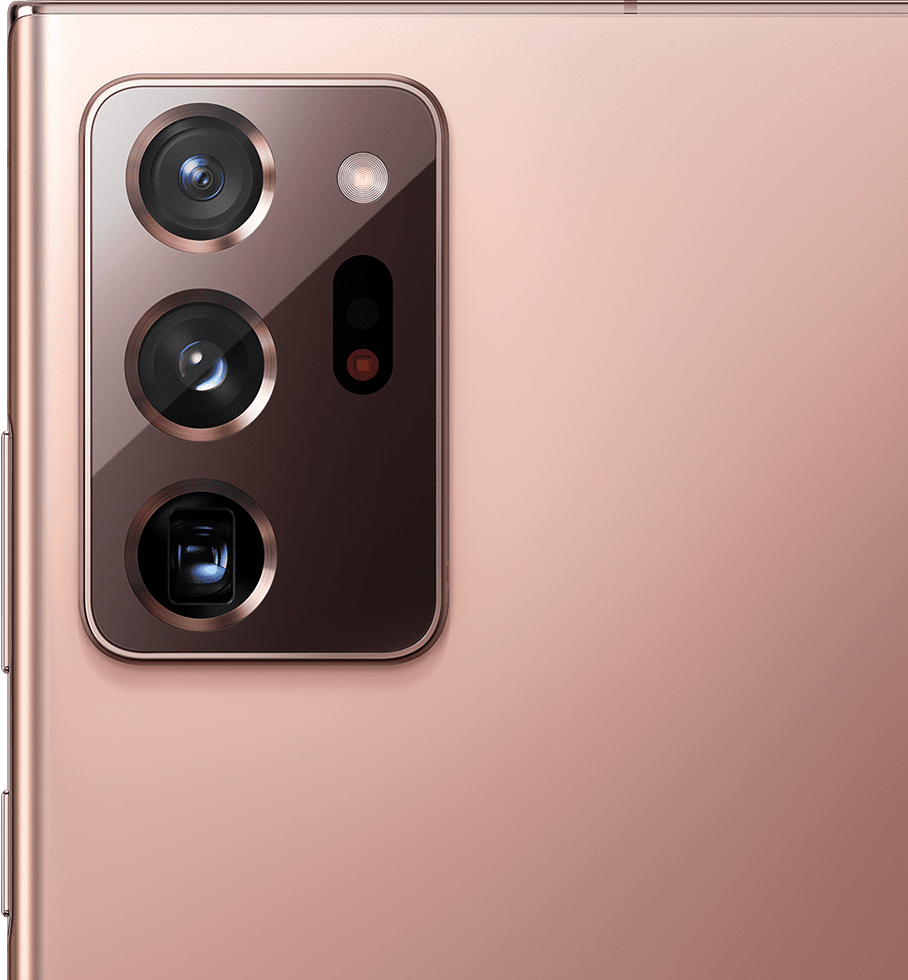 Closeup of the rear camera on Galaxy Note20 Ultra in Mystic Bronze.