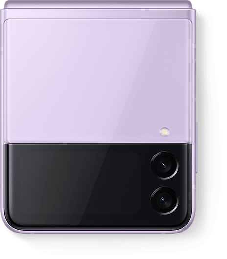 Galaxy Z Flip3 5G in Lavender folded and seen from the Front Cover.