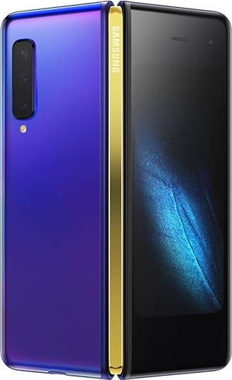 Astro Blue Galaxy Fold with Gold Hinge partially unfolded and seen from the back showing the rear and cover display