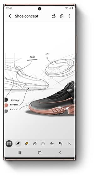 Galaxy Note20 Ultra with Samsung Notes app onscreen and a sketch of a shoe.