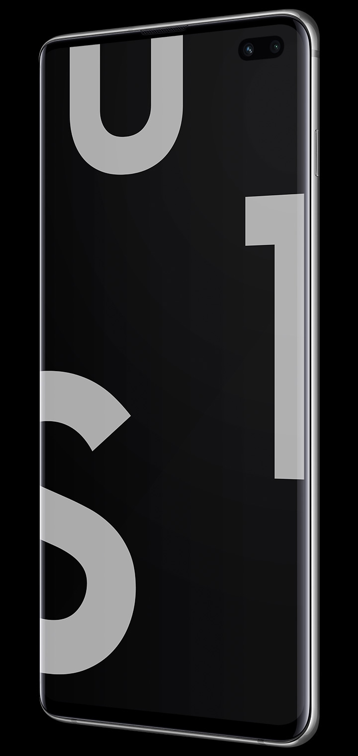 Galaxy S10 plus seen from the front at an angle with the S10 logo dynamically placed on the screen.