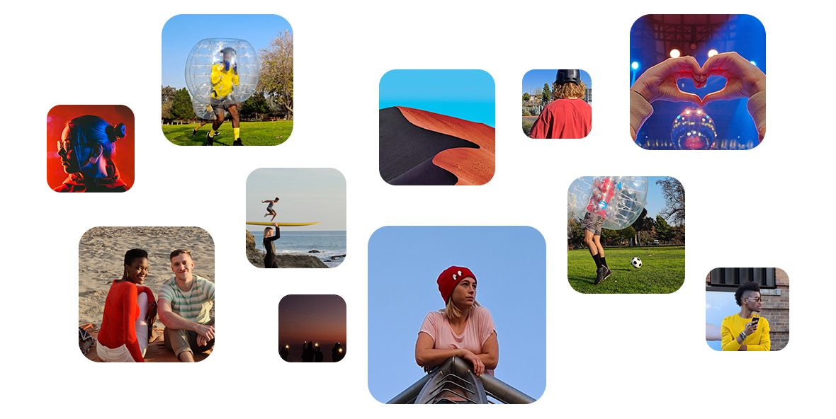 A selection of photos cropped into a shape that's similar to the camera shape
