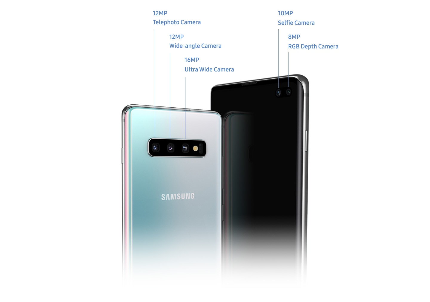 Two Galaxy S10 plus phones. One phone is seen from the back, showing the triple rear camera including 12MP Telephoto Camera, 12MP Wide-angle Camera and 16MP Ultra Wide Camera. The other phone is seen from the front, showing the dual front camera including 10MP Selfie Camera and 8MP Depth Camera.