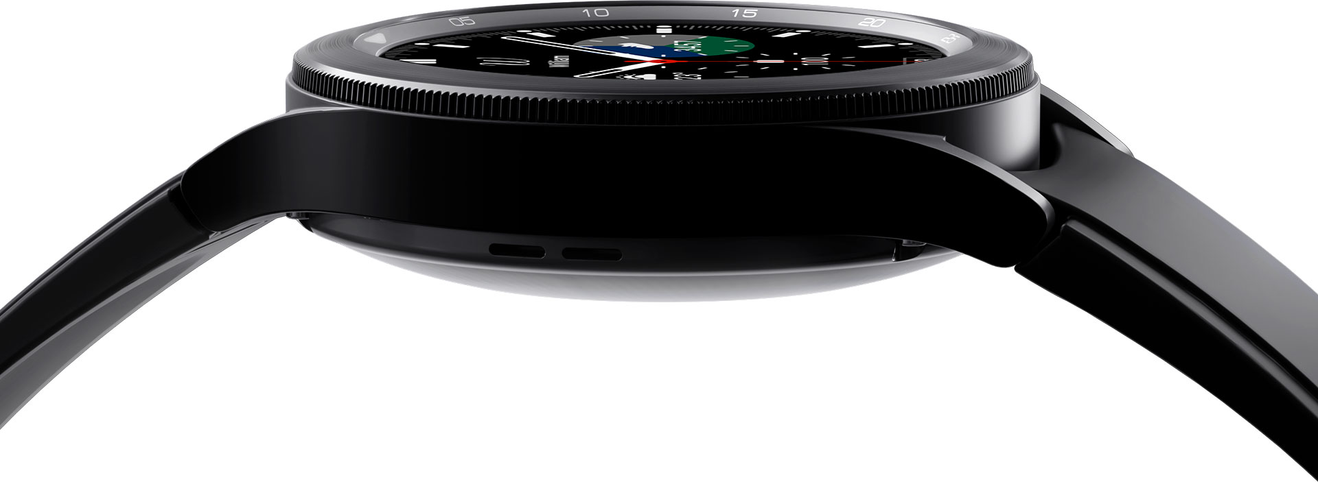 The Galaxy Watch4 Classic device's body is shown in a close-up, with focus on the details of its bezel.