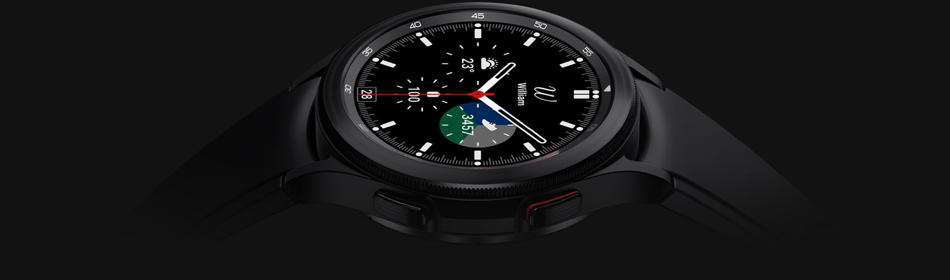 The watch face of a black Galaxy Watch4 Classic is facing up and showing the time.
