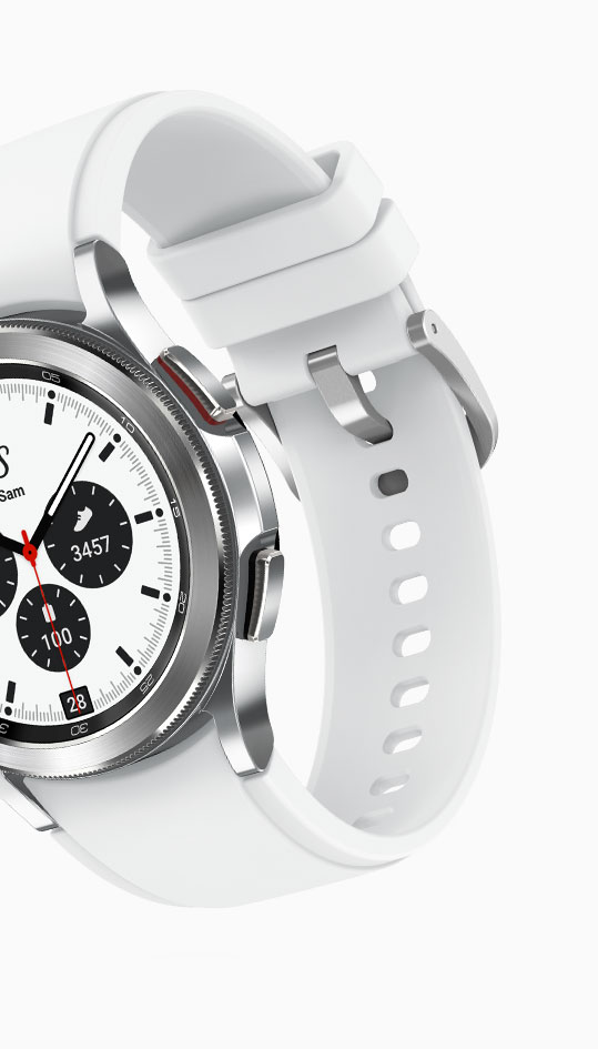 The inner side of a strapped-in Ridge Sports Band is shown, attached to a silver Galaxy Watch4 Classic body.