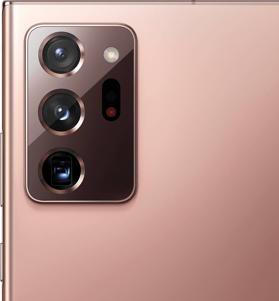 Closeup of the rear camera on Galaxy Note20 Ultra 5G in Mystic Bronze.