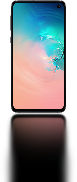 The Galaxy S10e seen from the front with an abstract coral and blue gradient graphic onscreen.