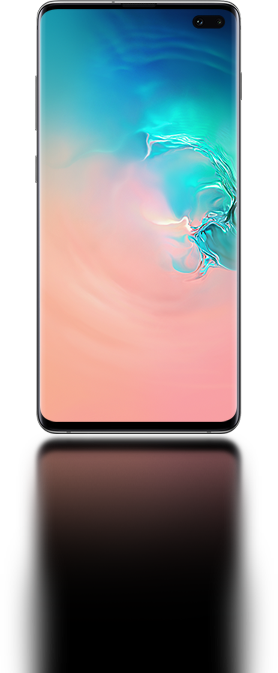 The Galaxy S10 plus seen from the front with an abstract coral and blue gradient graphic onscreen.