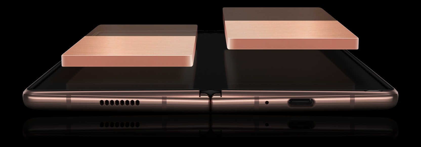 Galaxy Z Fold2 5G in Mystic Bronze, unfolded and laying faceup. The two sides of the All-day Dual Battery appear floating over the Main Screen, and the colour reduces to demonstrate how the dual battery works as one to equally drain power.