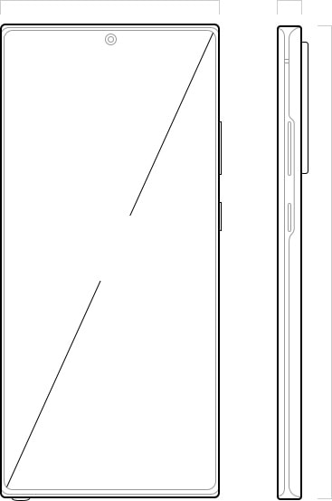 Illustration of Galaxy Note20 Ultra seen from the front and from the side. On the front is a diagonal line showing the measurement of the Infinity-O Display.