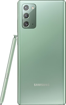 Galaxy Note20 in Mystic Green seen from the rear. The matching S Pen is leaning against the side.