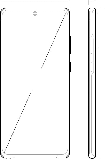 Illustration of Galaxy Note20 seen from the front and from the side. On the front is a diagonal line showing the measurement of the Infinity-O Display.
