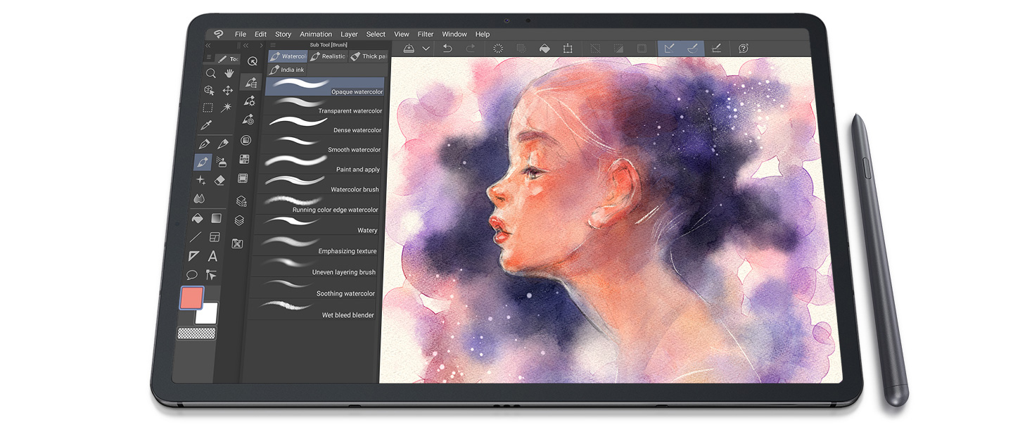 An illustration of a woman created with S Pen using Clip Studio Paint's brush GUI on Galaxy Tab S7+.