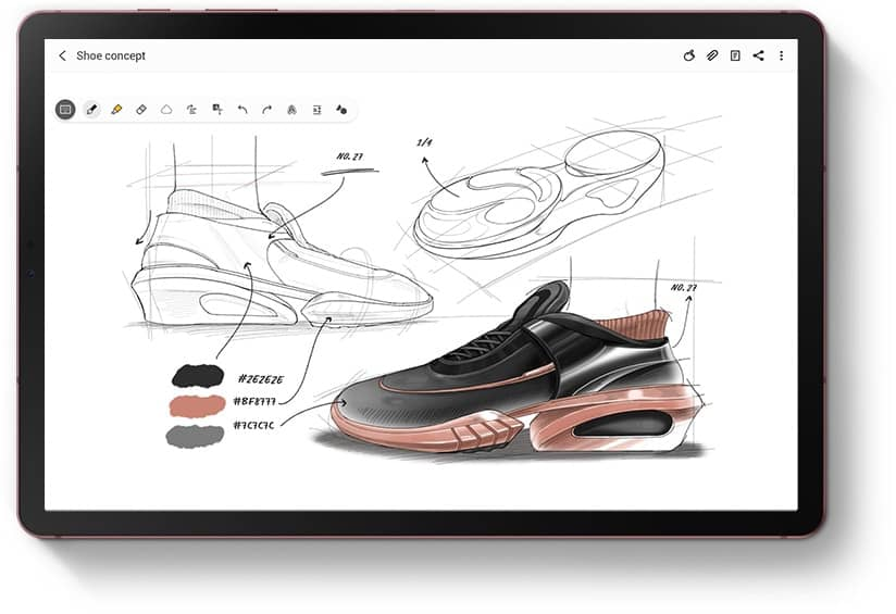 Tablet with Samsung Notes app onscreen and the same sketch of a shoe as seen on Galaxy Note20 Ultra .