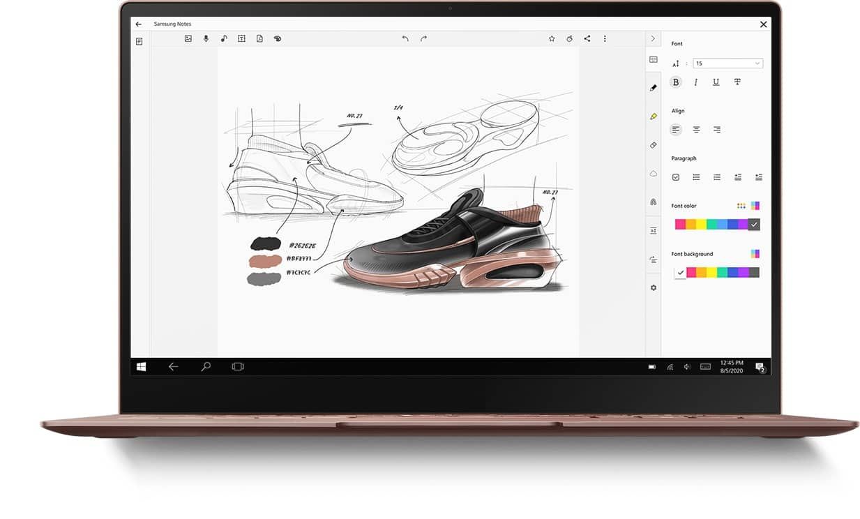 Laptop with Samsung Notes app onscreen and the same sketch of a shoe as seen on Galaxy Note20 Ultra 5G and tablet.