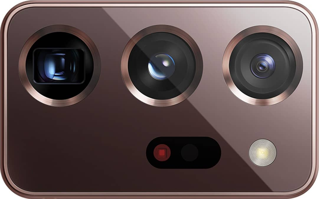 Extreme closeup of the triple rear camera from Galaxy Note20 Ultra 5G, shown without the phone.