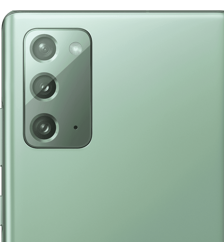 Closeup of the rear camera on Galaxy Note20 in Mystic Green.