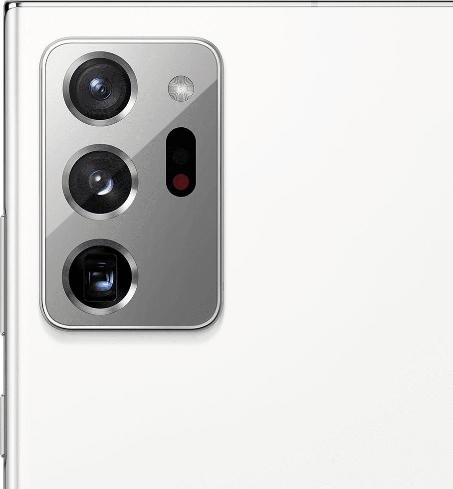 Closeup of the rear camera on Galaxy Note20 Ultra in Mystic White.