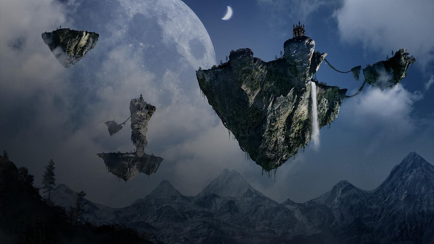 Castles floating in the sky with another planet seen in the distance.