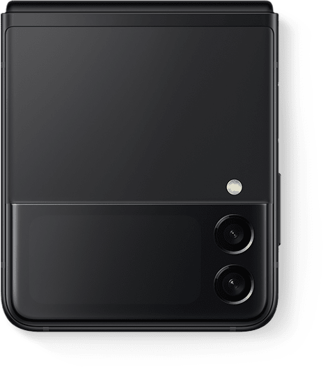 Galaxy Z Flip3 5G in Phantom Black folded and seen from the Front Cover.