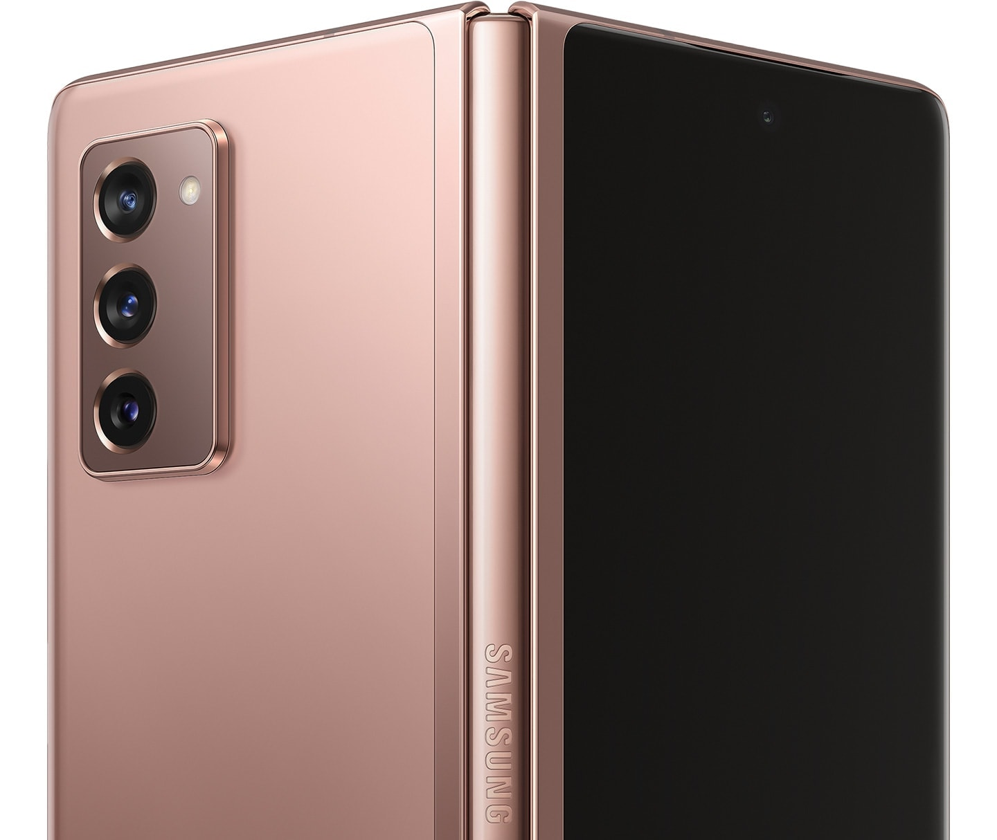 Galaxy Z Fold2 5G in Mystic Bronze, half unfolded and seen from the rear to show the Hideaway Hinge.
